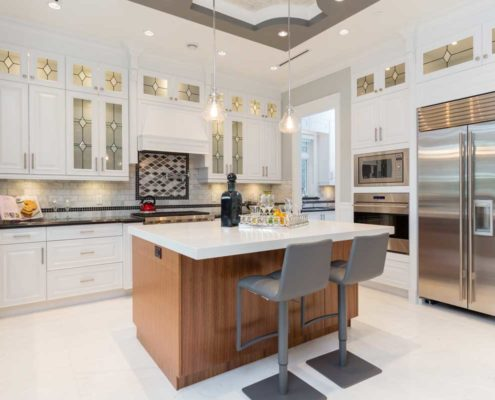 Modern kitchen with eating area.