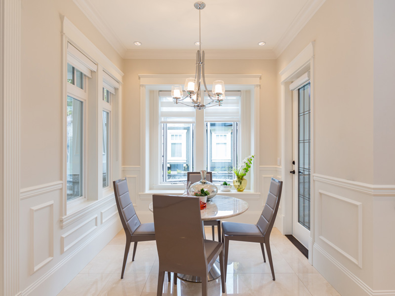 Enclosed eating area off kitchen in this Shaughnessy home.