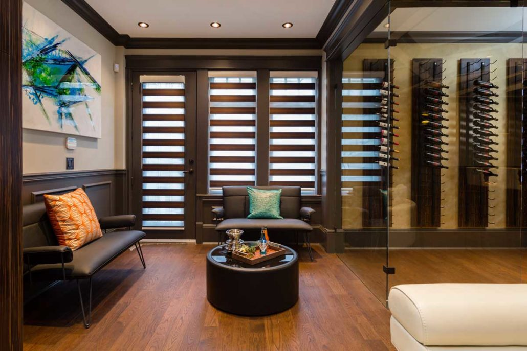 Plantain shutters behind entertainment sitting area.