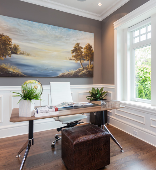 Clean and sleek home office in Vancouver custom home.