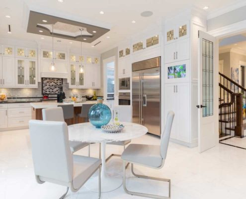Open concept kitchen and dining rooms.