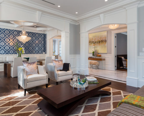 Traditional home's elegant living and dining rooms.