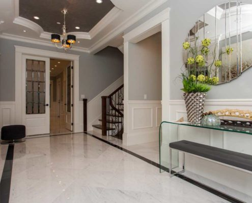 Marble foyer entrance in Vancouver home.