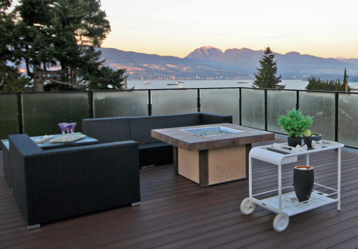 Roof-top outdoor living looking out over Vancouver.